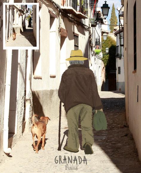 Gentes del Albayzín-fotografía pintada-painted photography