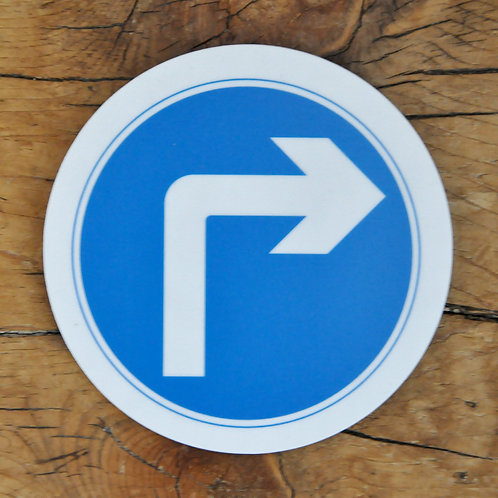 Road sign coaster: Turn right ahead