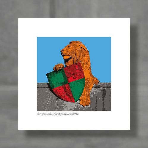 Lion gazes right, Cardiff Castle Animal Wall - Colour digital print