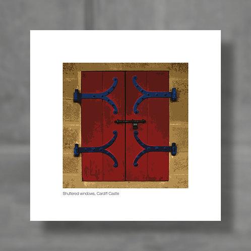 Shuttered windows, Cardiff Castle - Colour digital print