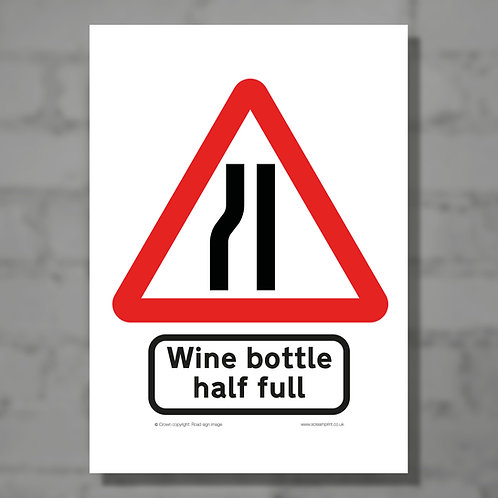 Wine bottle half full - Colour digital print