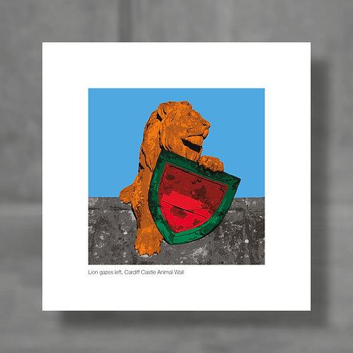 Lion gazes left, Cardiff Castle Animal Wall - Colour digital print
