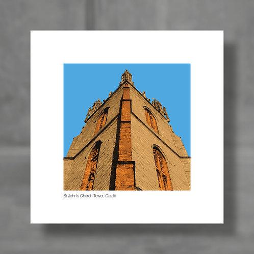St John's Church Tower, Cardiff - Colour digital print