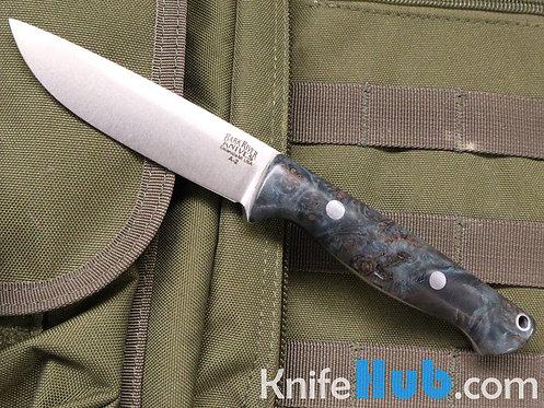 Bark River Knives Gunny Hunter A2 Deep Blue & Gold Elder Burl