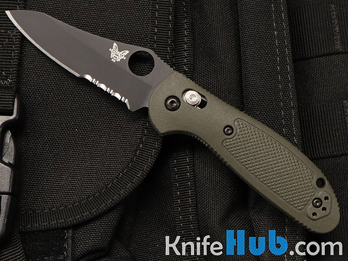 Benchmade Mini Griptilian OD Green Handle Black Blade Serrated 555SBKOD-S30V