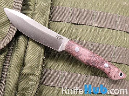 Bark River Knives Mini-Kalahari Burgundy Maple Burl A2 Fixed Blade Knife