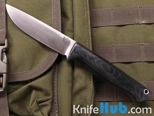 Bark River Knives Gunny Hunter CPM 3V Black Canvas Micarta Black Pins