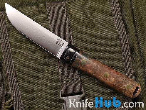 Bark River Knives Kitsune Tanto CPM 154 Black Canvas Bolster Nat & Green Burl