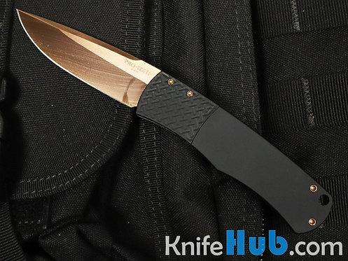 Protech BR-1 RG Whiskers Black Handle Patterned Bolster Rose Gold Blade