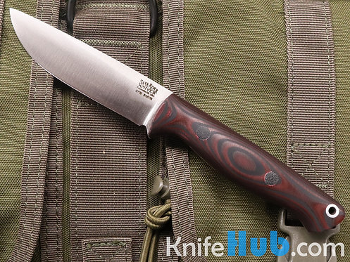 Bark River Knives Mini Gunny Rampless S45VN Red & Black SureTouch Black Pins