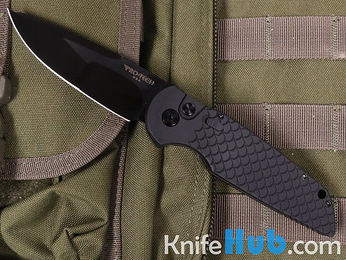 Protech TR-3X1-M DLC 2020 Blk Handle w/ Fish Scale Handle & Mirror DLC BLK Blade