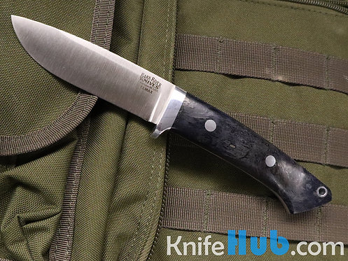 Bark River Knives Classic Drop Pt Hunter Blue Elder Burl Elmax Fixed Blade Knife