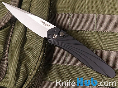 Protech 3436 Newport BLK Handle w/3D Wave MOP Button SW Blade