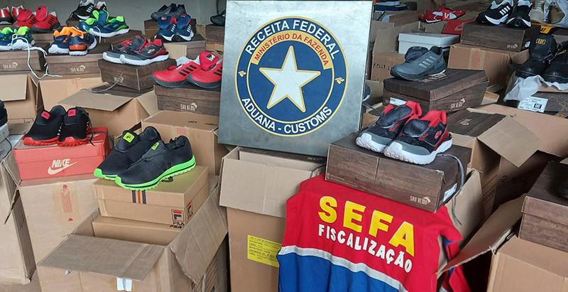 Receita Federal do Brasil e Sefa apreendem cerca de 16 mil pares de calçados falsificados
