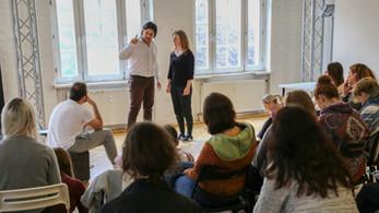 Acting Coach Francisco Medina and acting students