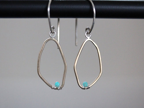 Echo Gold Earrings with amazonite drops
