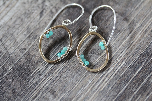 Echo Gold Earrings with amazonite clusters