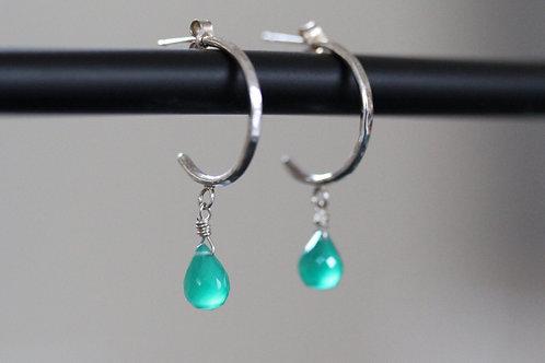 Green Onyx Medium Hoop Earrings