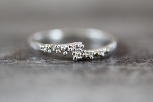 Clusters Silver and Gold Ring