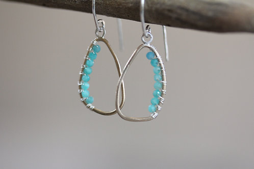 Echo Gold Earrings with amazonites