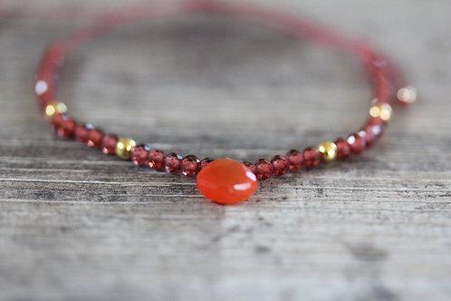 Garnet and Carnelian beaded Bracelet