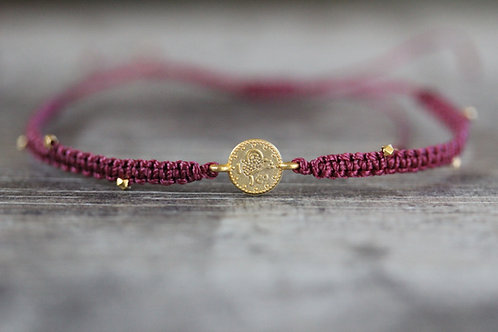 Coin Bracelet in Berry Red