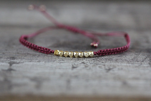 Hammered bead Bracelet in Berry Red