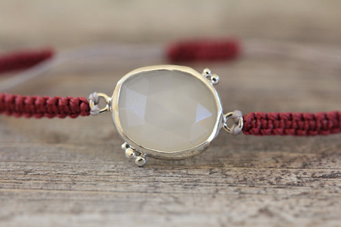Grains Moonstone Bracelet in Berry Red and Silver