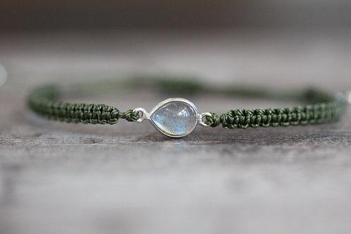 Labradorite Bracelet in Moss Green