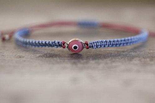 Evil Eye Bracelet in Light Blue and Pink