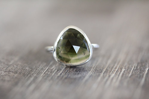Watermelon Tourmaline Ring in green