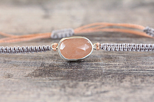 Sea Moonstone Bracelet in Lavender and Peach