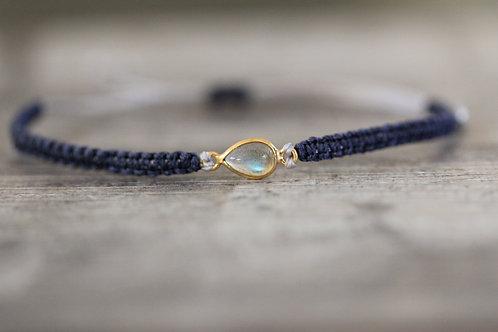 Labradorite Bracelet in Navy and grey