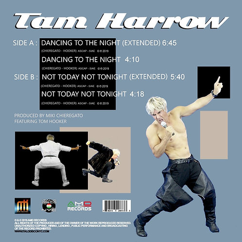 "Tam Harrow - Dancing To The Night - 12"" cyan blue & white vinyl. Limited to 100"
