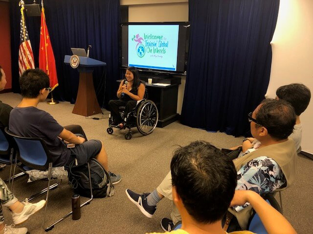 Ming presents at the Shanghai American Center