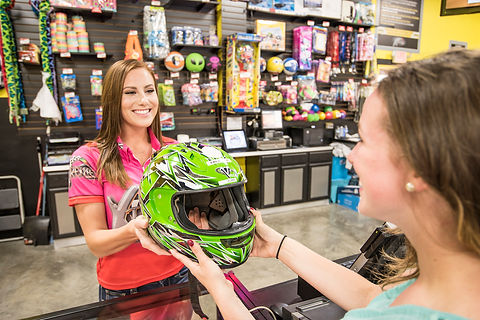 Green helmet at Xtreme Racing Center Pigeon Forge