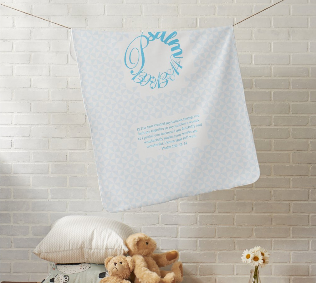 Psalm 139:13-14 Blue Baby Blanket