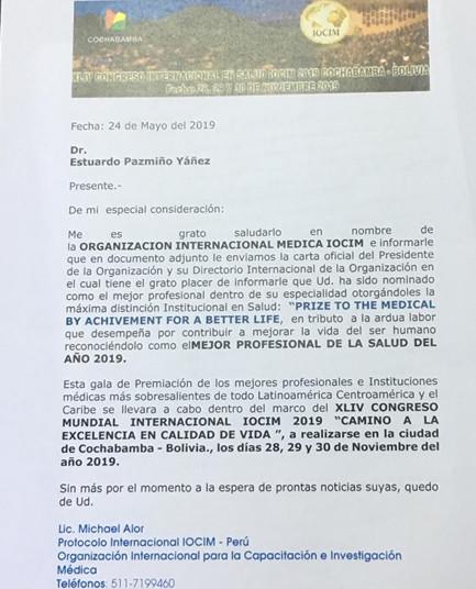 RECONOCIMIENTO AL DR. ESTUARDO PAZMIÑO