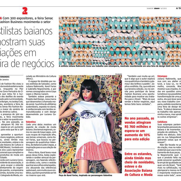 Periódico A Tarde, 14/01/2012