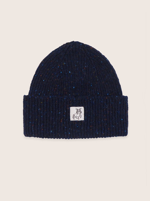 Patch Donegal Wool Beanie - Navy