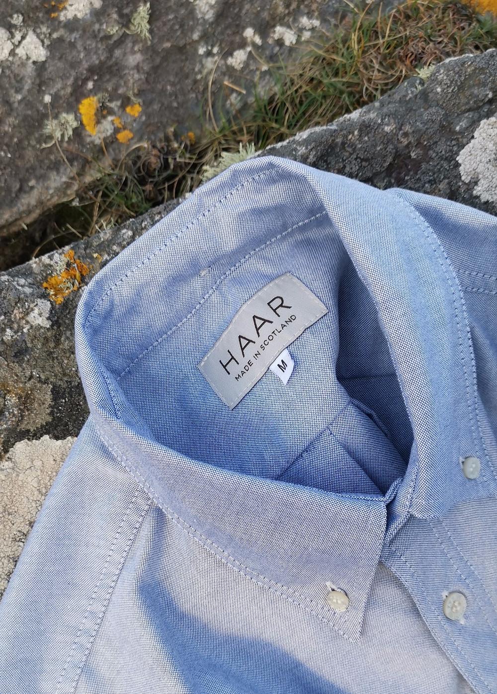 HAAR Navy cotton button-down shirt