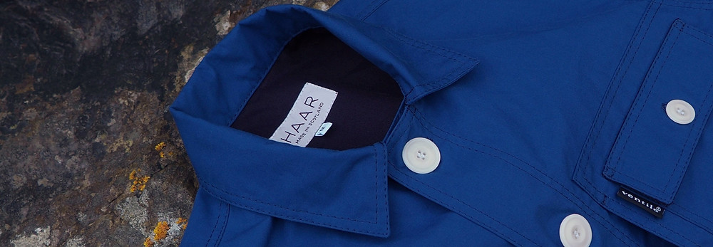 Collar detail of the Ventile CPO Jacket released for SS20