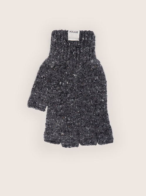 Donegal Wool Fingerless gloves - Grey