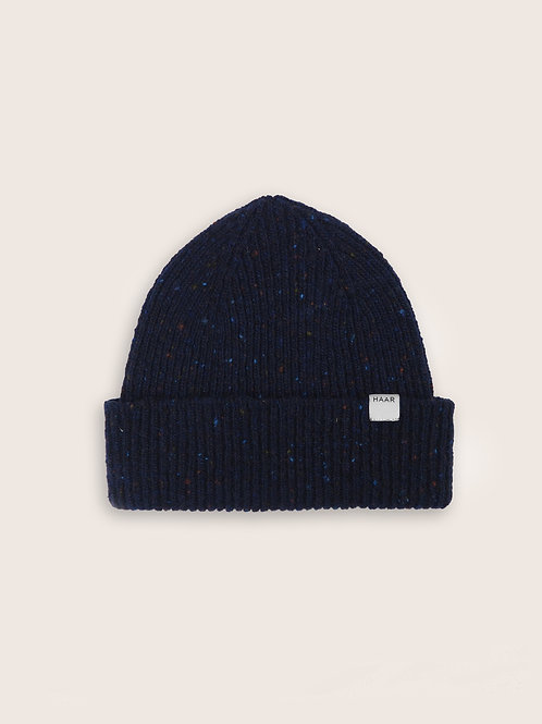 Donegal Wool Beanie - Navy