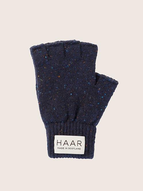 Wool Fingerless gloves - Navy Donegal