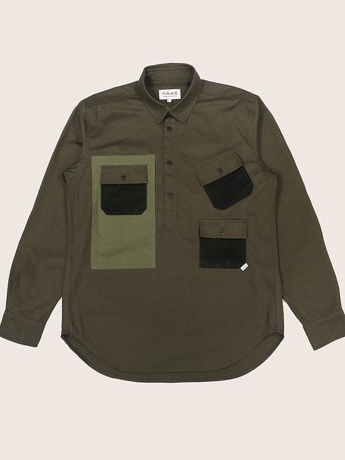 Multi-Pocket Pop-Over Shirt - Forest