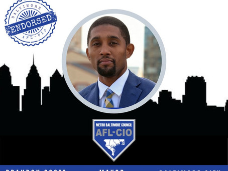 September 30: Baltimore AFL-CIO Endorses Brandon Scott for Mayor