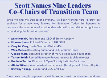 October 20: Scott Names Nine Leaders Co-Chairs of Transition Team