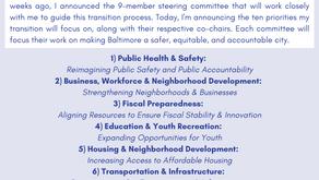 November 6: Mayor-Elect Brandon Scott Announces Transition Priorities