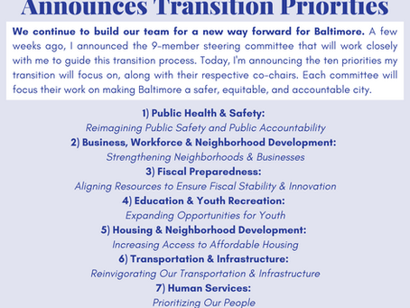 November 6: Mayor-Elect Brandon Scott Announces Transition Priorities